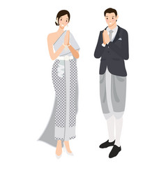 thai wedding couple greeting in traditional dress vector image