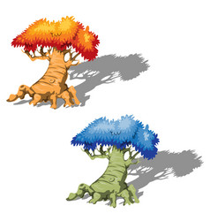 the old fantasy trees with a blue and orange tree vector image