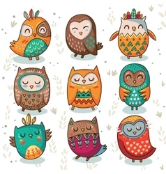 Tribal owl set vector