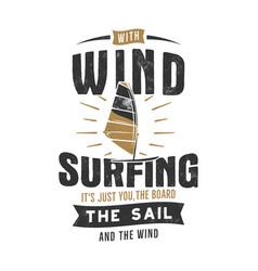 vintage hand drawn windsurfing kitesurfing tee vector image