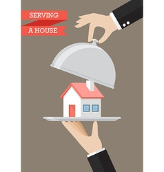 Waiter serving a house vector