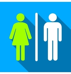 WC People Figures Flat Long Shadow Square Icon vector