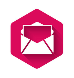 White mail and e-mail icon isolated with long vector
