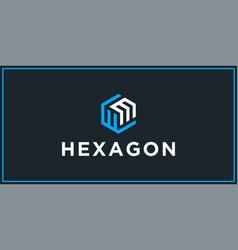 Wm hexagon logo design inspiration vector