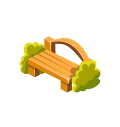 Wooden Bench With Back Isometric Garden vector image