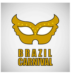 yellow carnival mask and typography with black vector image