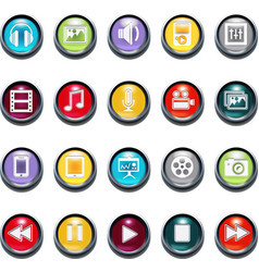 3d multimedia icons vector image vector image