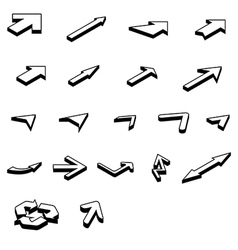 arrows isometric set vector image vector image