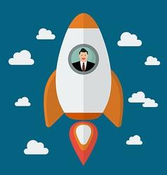 Businessman on a rocket vector image vector image
