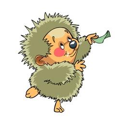 cartoon funny hedgehog dancing vector image vector image