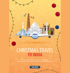 Christmas travel to india delhi agra winter vector