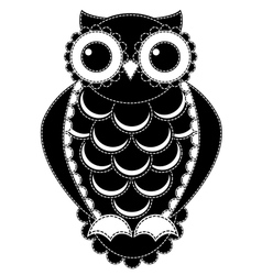 Silhouette patchwork owl vector image vector image