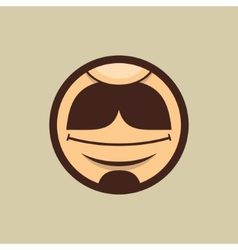 Smiling Mouth with Moustache in Circle vector image vector image