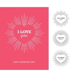 Valentines day card with heart frame and sunburst vector image vector image