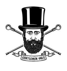 bearded gentleman head in vintage hat design vector image vector image