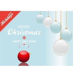 Christmas bauble blue and white background with vector image vector image