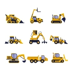 Construction Equipment Road Roller Excavator vector image vector image