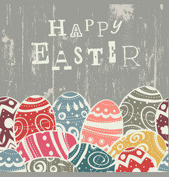Easter eggs on wooden board eggs border by down vector
