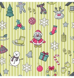 Happy New Year and Merry Christmas pattern vector image