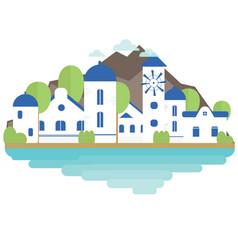 island santorini in flat style background banner vector image