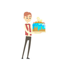 male waiter holding festive cake with swan cartoon vector image
