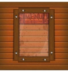 restaurant menu wooden frame and glass light vector image vector image