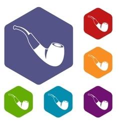 Smoking pipe icons set vector image
