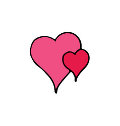 two hearts cartoon icon vector image
