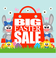 Big easter sale card with funny chickens and rabbi vector