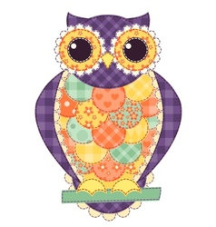 Colored isolated patchwork owl vector