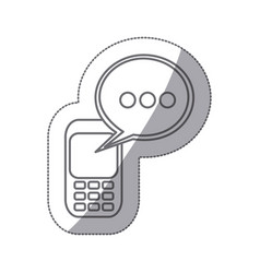 Grayscale silhouette sticker of cell phone with vector