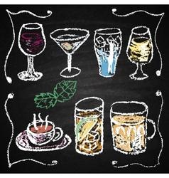 Hand drawn cocktail menu elements vector image