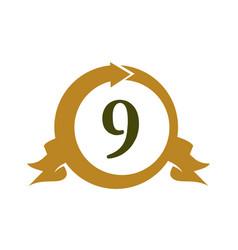 Modern number 9 vector