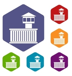 Prison tower icons set vector image vector image