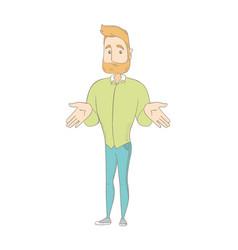 young caucasian hippie man shrugging shoulders vector image vector image