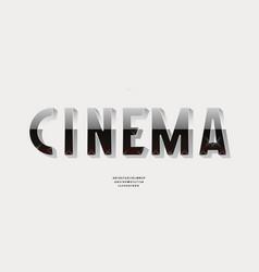 3d cinema font for decorative design vector image