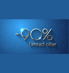 90 percent offer background with golden shining vector
