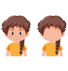 A girl with braids hairstyle vector