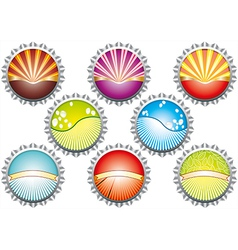 a metal bottle tops in various colours w vector image