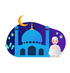 a muslim praying muslims who pray during ramadan vector image