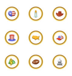 attractions of usa icons set cartoon style vector image