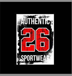 Authentic 26 sportwear abstract vintage fashion vector