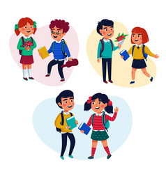 back to school concept pupils girl and boys with vector image
