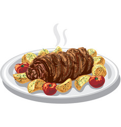 baked meat roulade vector image vector image