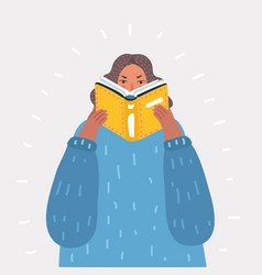 Beautiful girl reading a book vector