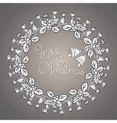 Bells and wreath handwritten words Merry vector