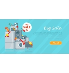 Big Sale in Electronics Store Flat Concept vector