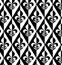 Black and white alternating fleur-de-lis half and vector