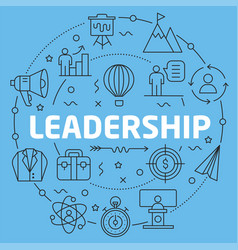 blue line flat circle leadership vector image
