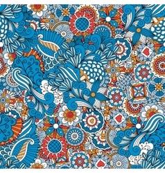 Blue red and orange vintage floral pattern vector image